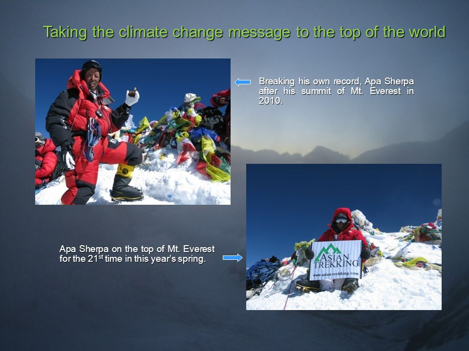 Taking the climate change message to the top of the world Breaking his own record, Apa Sherpa after his summit of Mt.