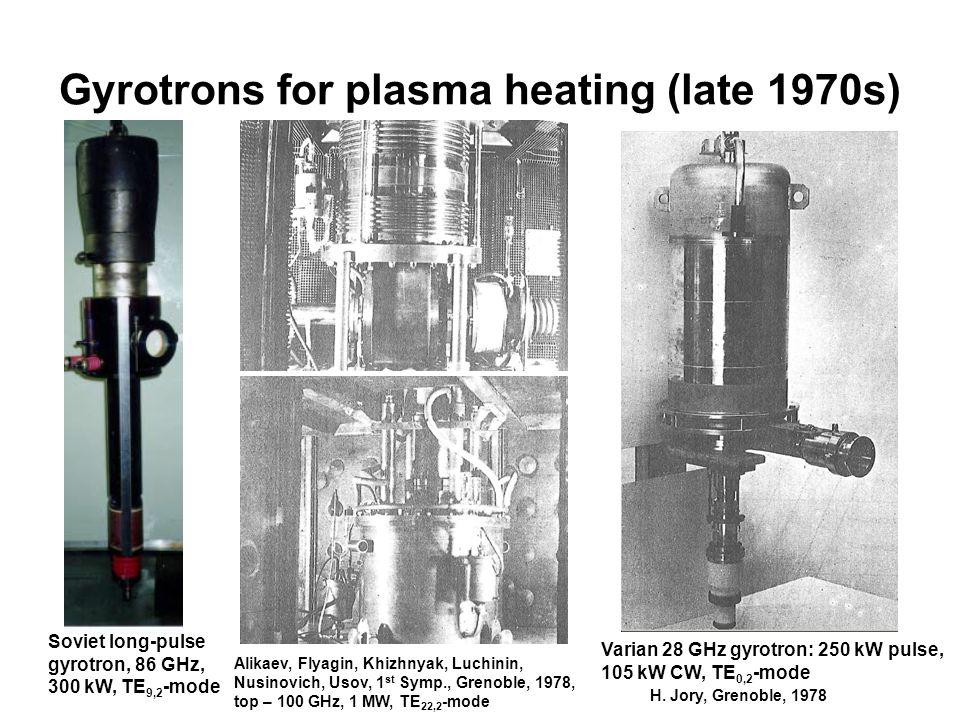 Gyrotrons for plasma heating (late 1970s) Soviet long-pulse gyrotron, 86 GHz, 300 kW, TE 9,2 -mode Varian 28 GHz gyrotron: 250 kW pulse, 105 kW CW, TE 0,2 -mode Alikaev, Flyagin, Khizhnyak, Luchinin, Nusinovich, Usov, 1 st Symp., Grenoble, 1978, top – 100 GHz, 1 MW, TE 22,2 -mode H.