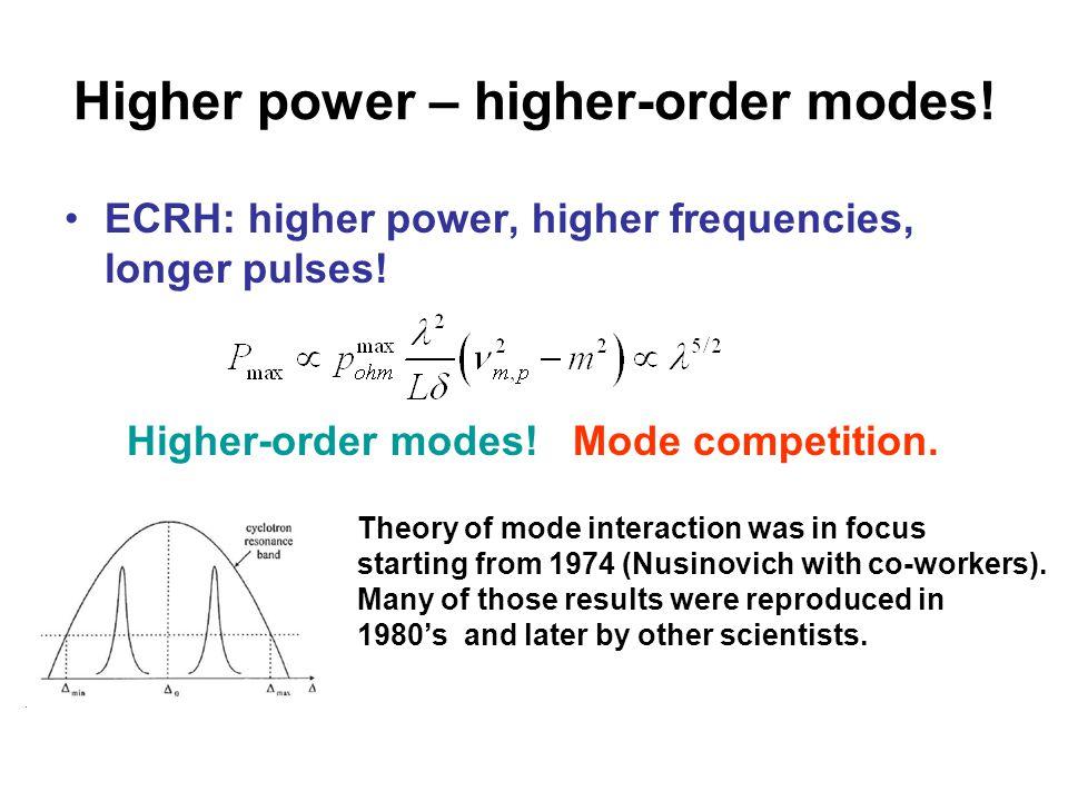Higher power – higher-order modes. ECRH: higher power, higher frequencies, longer pulses.