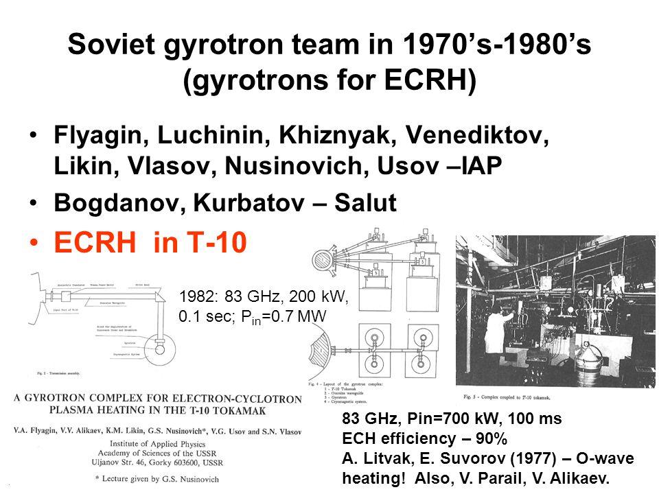 Soviet gyrotron team in 1970's-1980's (gyrotrons for ECRH) Flyagin, Luchinin, Khiznyak, Venediktov, Likin, Vlasov, Nusinovich, Usov –IAP Bogdanov, Kurbatov – Salut ECRH in T-10 83 GHz, Pin=700 kW, 100 ms ECH efficiency – 90% A.