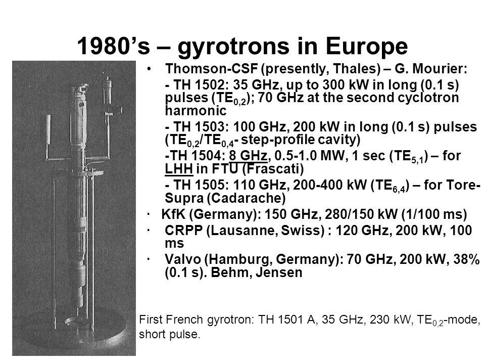 1980's – gyrotrons in Japan Toshiba: 22 GHz, 28 GHz, 70 GHz.