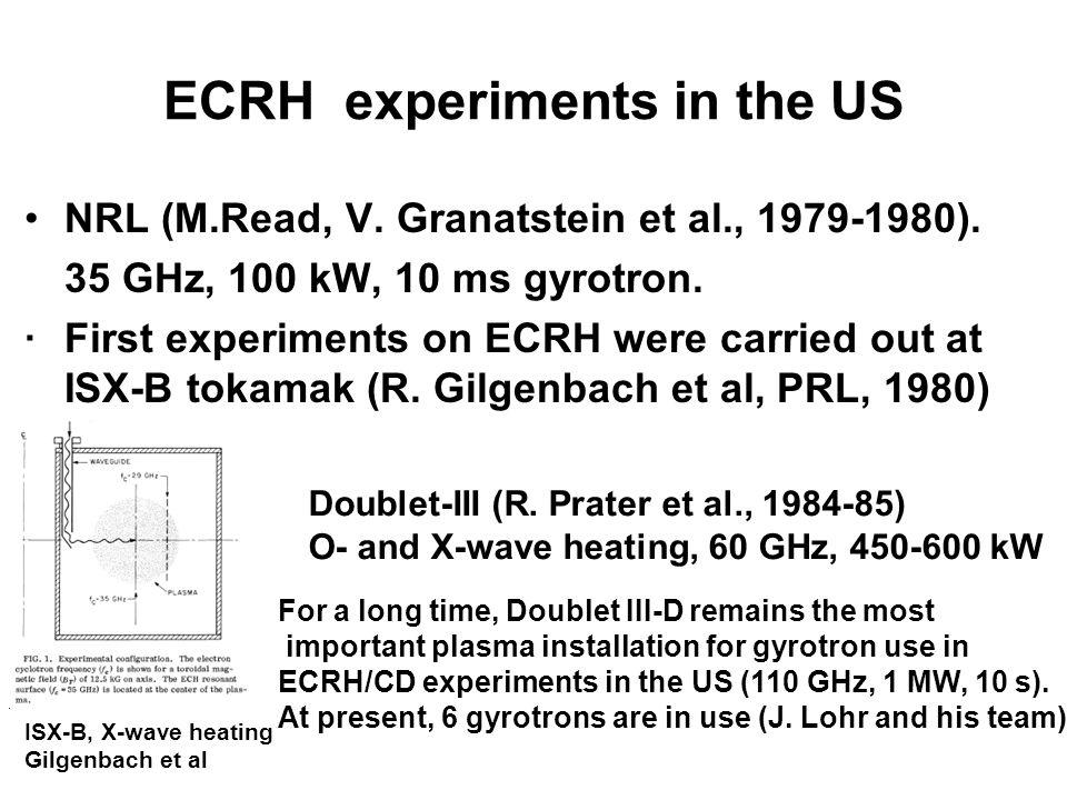 ECRH experiments in the US NRL (M.Read, V. Granatstein et al., 1979-1980).