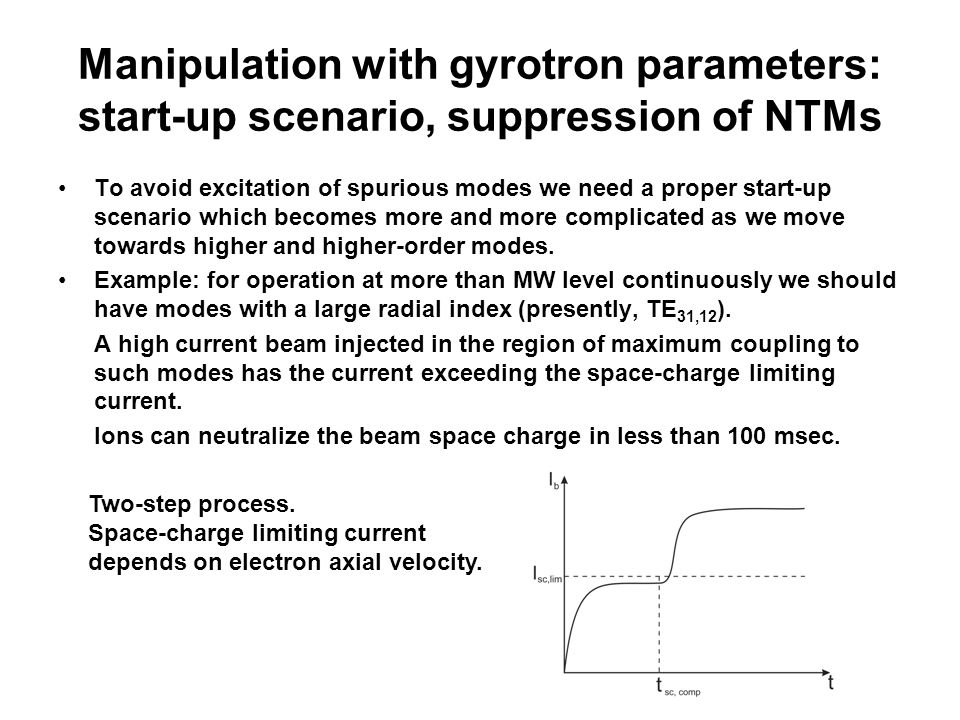 Manipulation with gyrotron parameters: start-up scenario, suppression of NTMs To avoid excitation of spurious modes we need a proper start-up scenario which becomes more and more complicated as we move towards higher and higher-order modes.