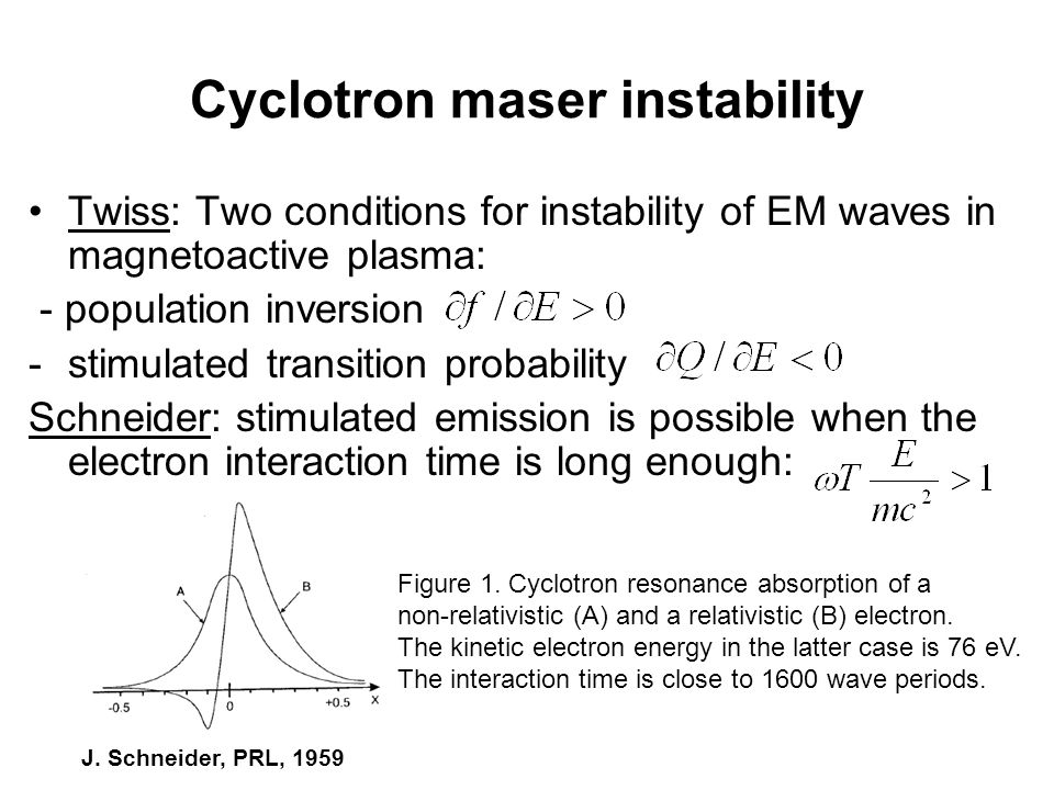 Cyclotron maser instability Gaponov: first paper - the instability caused by axial electron bunching (Weibel did the same in 1959).