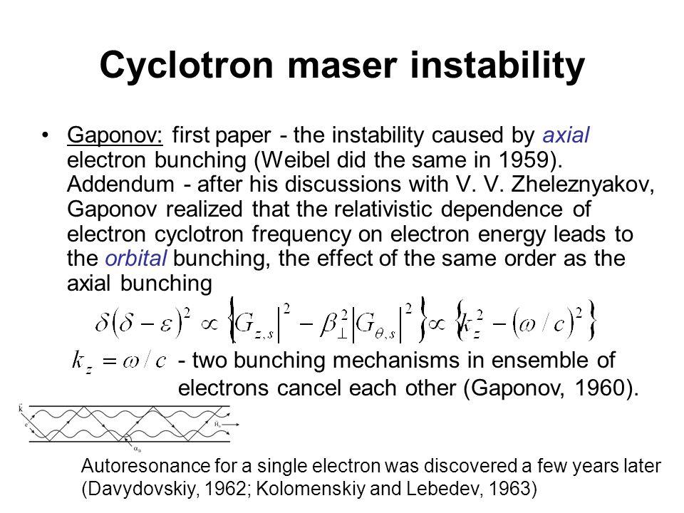 First experiments R.H. Pantell, The Cyclotron Resonance Backward-Wave Oscillator , 1959-1960.