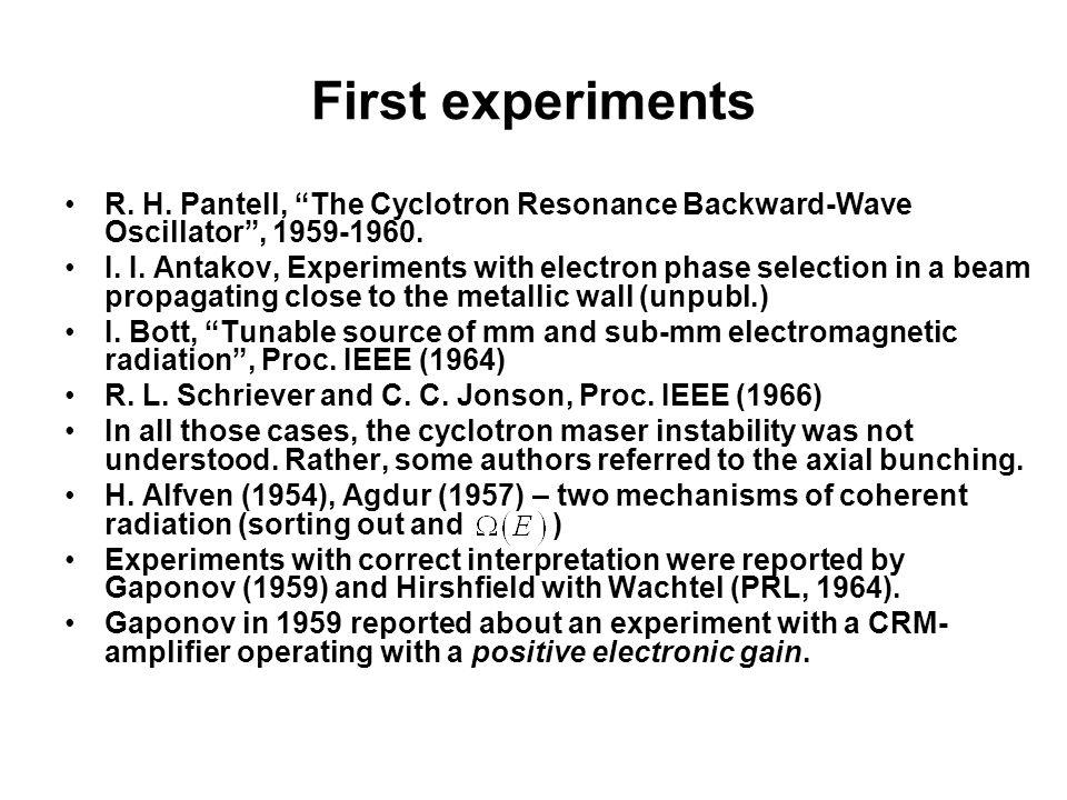 First experiments R. H. Pantell, The Cyclotron Resonance Backward-Wave Oscillator , 1959-1960.