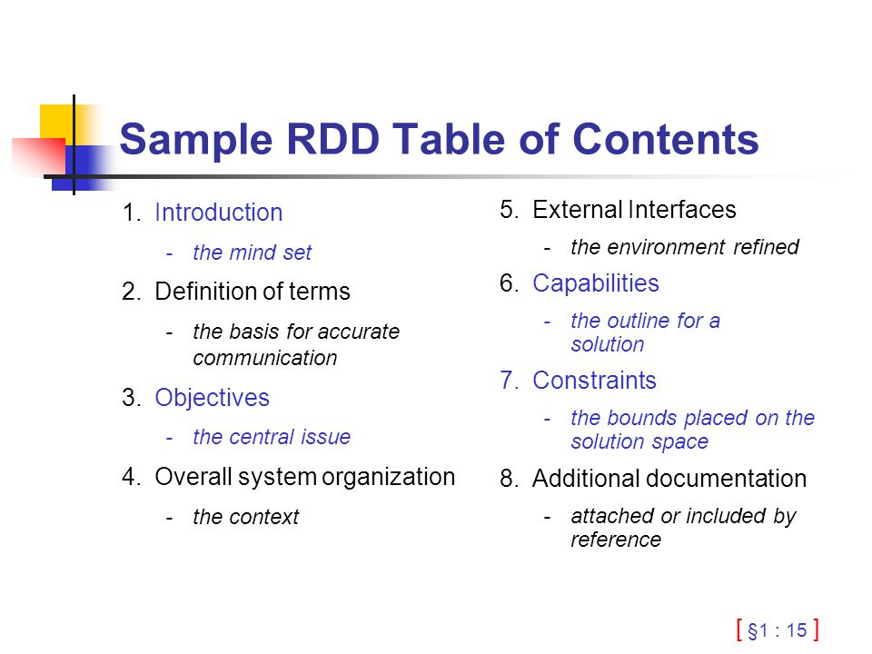 [ §1 : 15 ] Sample RDD Table of Contents 1.Introduction -the mind set 2.Definition of terms -the basis for accurate communication 3.Objectives -the ce