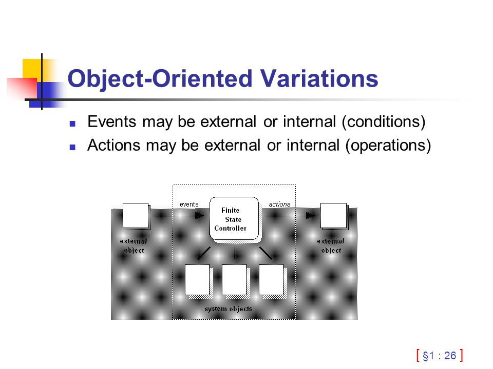 [ §1 : 26 ] Object-Oriented Variations Events may be external or internal (conditions) Actions may be external or internal (operations)