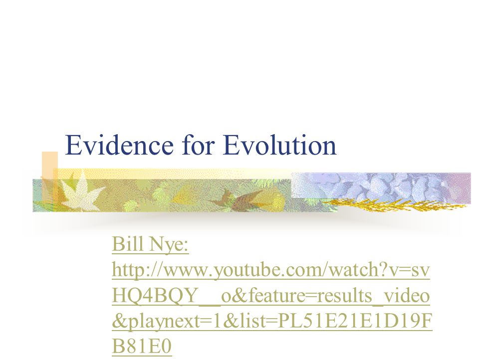 Evidence for Evolution Bill Nye: http://www.youtube.com/watch?v=sv HQ4BQY__o&feature=results_video &playnext=1&list=PL51E21E1D19F B81E0