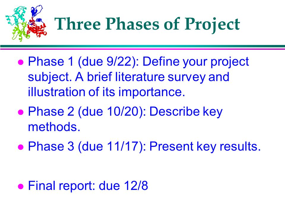 Three Phases of Project l Phase 1 (due 9/22): Define your project subject. A brief literature survey and illustration of its importance. l Phase 2 (du