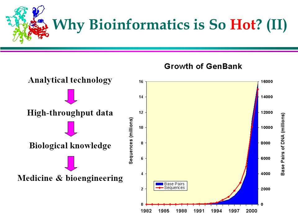 Why Bioinformatics is So Hot? (II) Analytical technology High-throughput data Biological knowledge Medicine & bioengineering