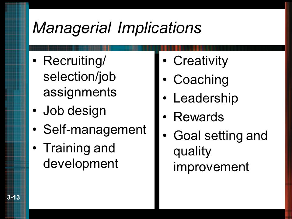 3-13 Managerial Implications Recruiting/ selection/job assignments Job design Self-management Training and development Creativity Coaching Leadership Rewards Goal setting and quality improvement