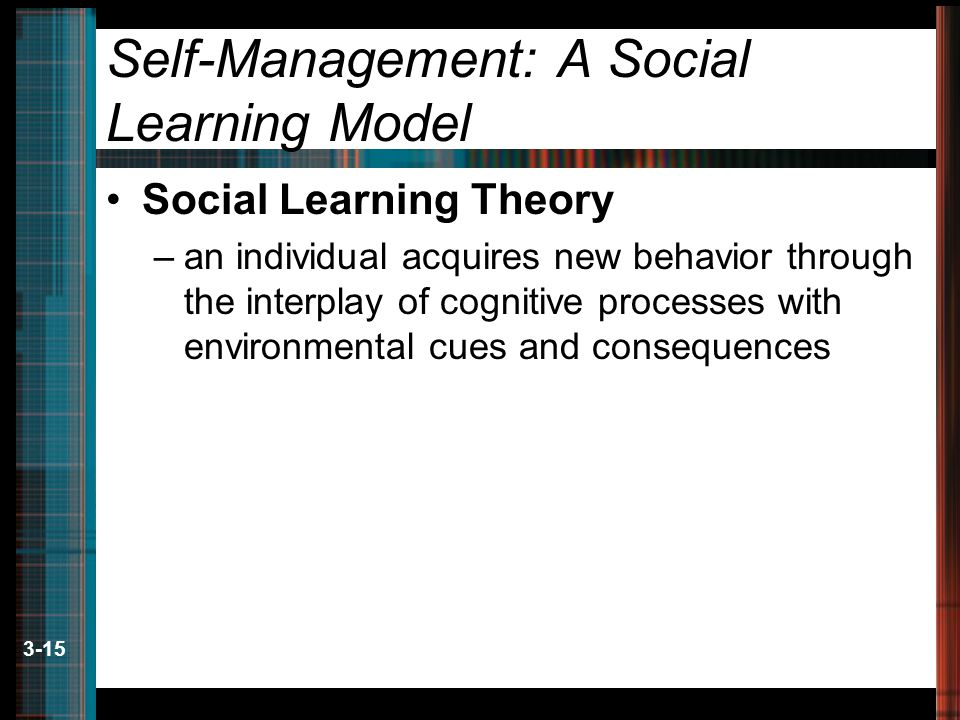 3-15 Self-Management: A Social Learning Model Social Learning Theory –an individual acquires new behavior through the interplay of cognitive processes