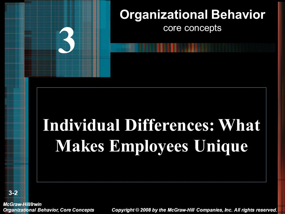 3-2 Individual Differences: What Makes Employees Unique Copyright © 2008 by the McGraw-Hill Companies, Inc.
