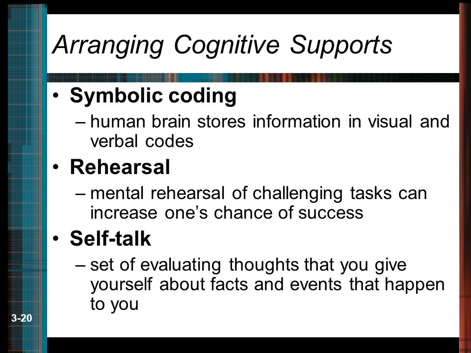 3-20 Arranging Cognitive Supports Symbolic coding –human brain stores information in visual and verbal codes Rehearsal –mental rehearsal of challenging tasks can increase one's chance of success Self-talk –set of evaluating thoughts that you give yourself about facts and events that happen to you