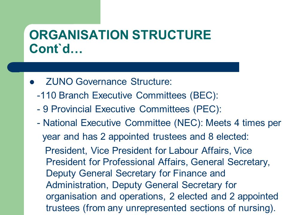 ORGANISATION STRUCTURE Cont`d… ZUNO Governance Structure: -110 Branch Executive Committees (BEC): - 9 Provincial Executive Committees (PEC): - Nationa
