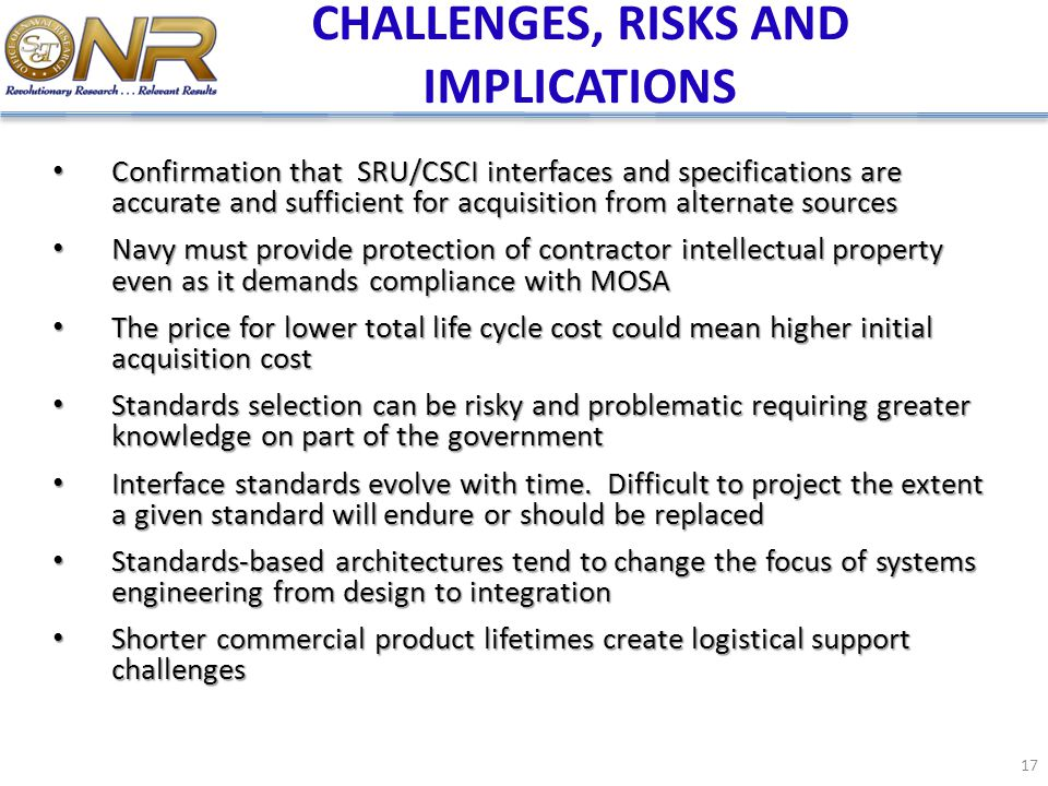 CHALLENGES, RISKS AND IMPLICATIONS Confirmation that SRU/CSCI interfaces and specifications are accurate and sufficient for acquisition from alternate
