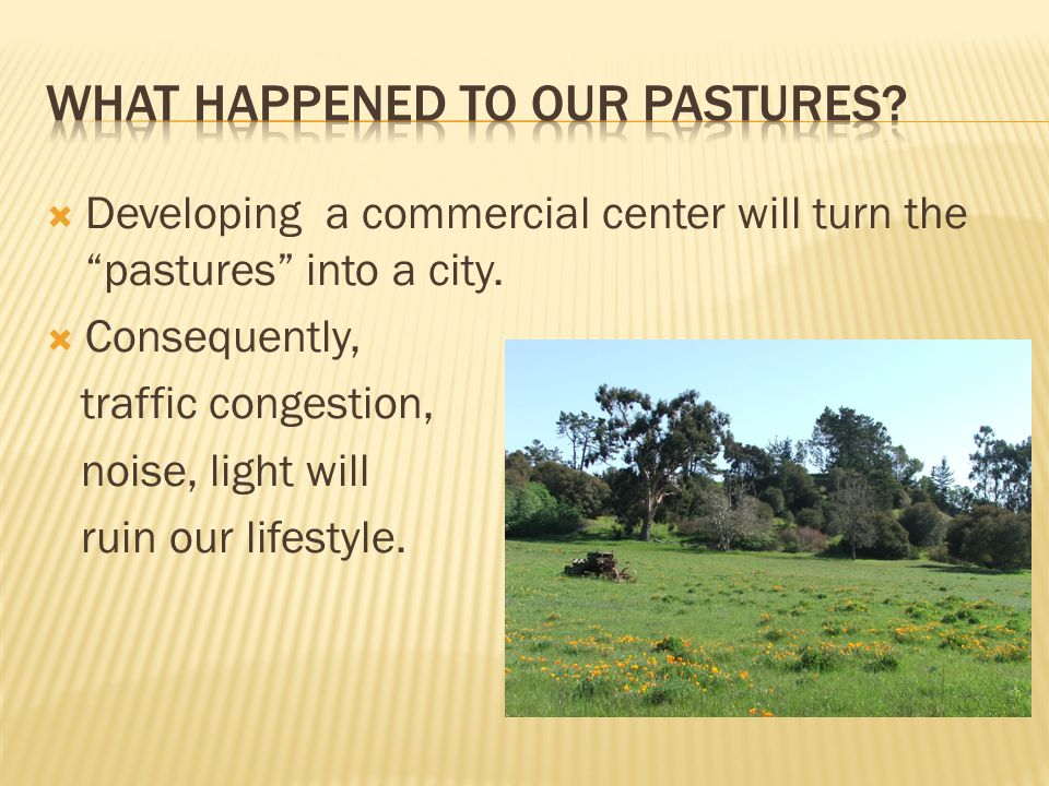  Developing a commercial center will turn the pastures into a city.
