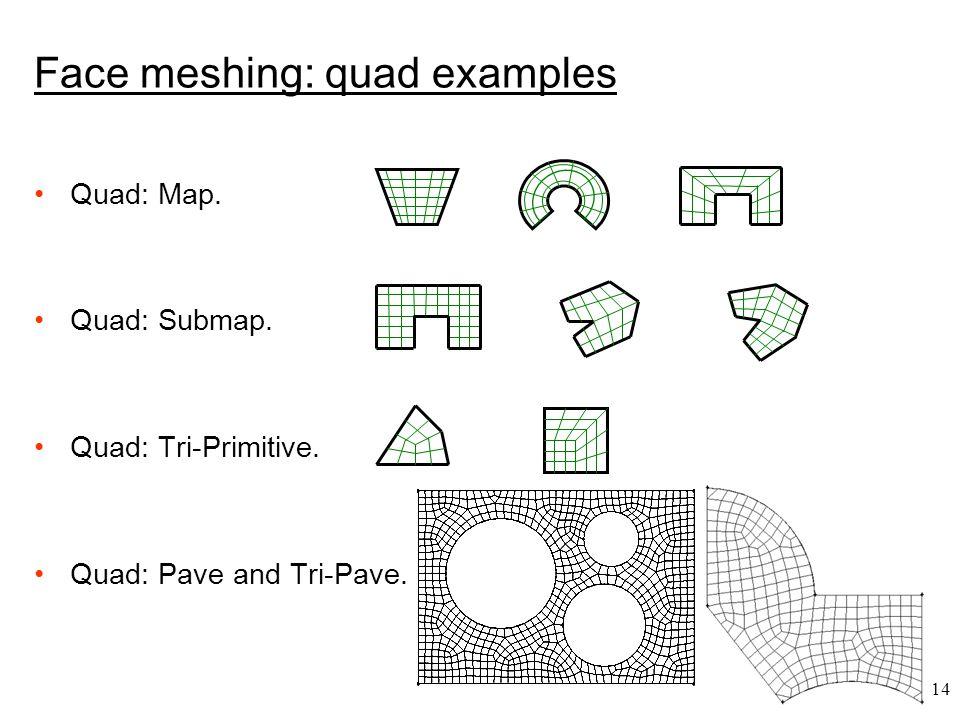 14 Face meshing: quad examples Quad: Map. Quad: Submap.