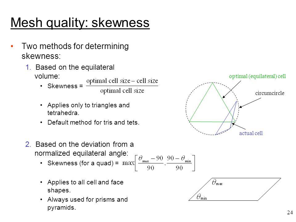 24 Two methods for determining skewness: 1.