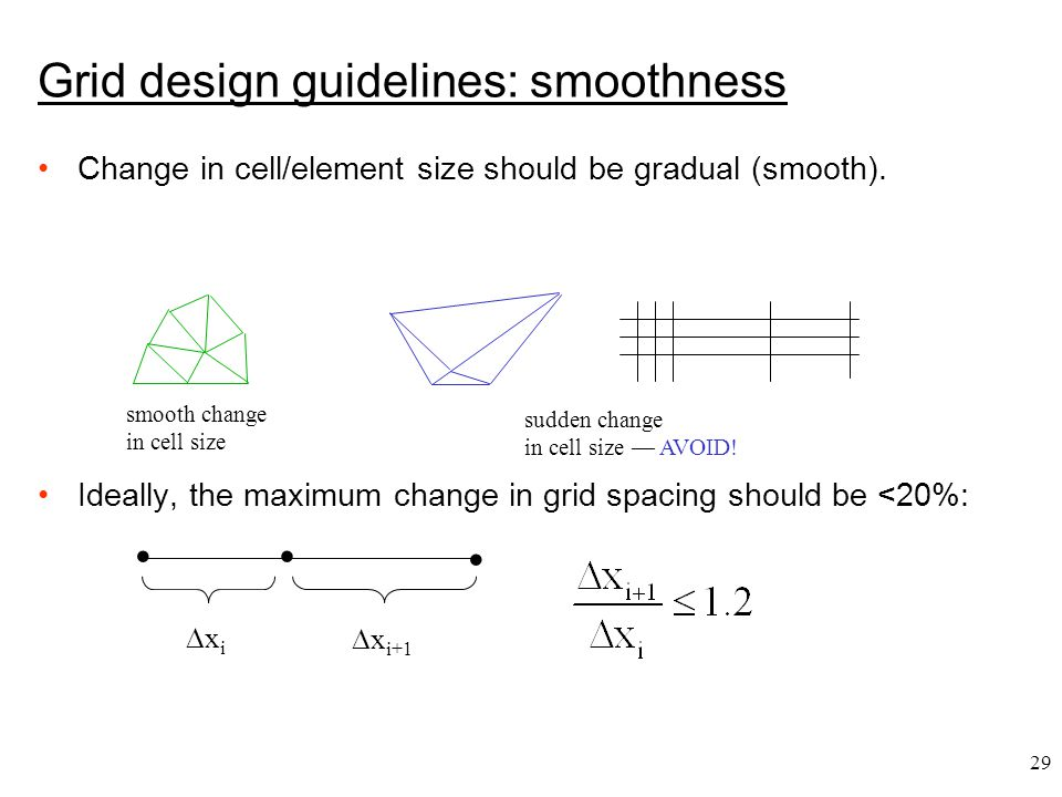 29 Grid design guidelines: smoothness Change in cell/element size should be gradual (smooth).