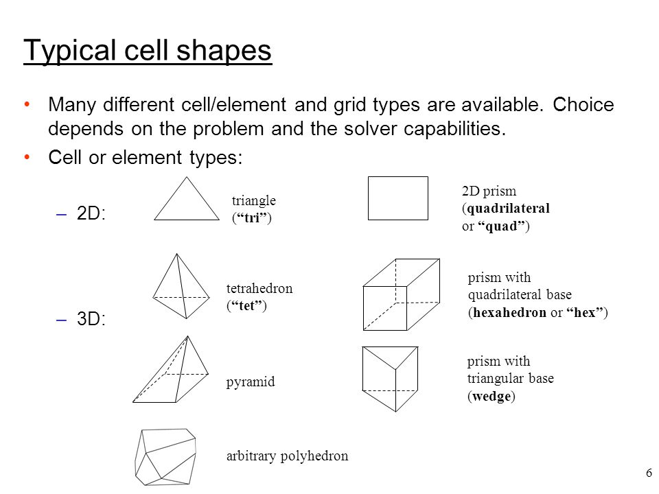 7 node face cell face cell node edge 2D computational grid 3D computational grid cell center Terminology Cell = control volume into which domain is broken up.