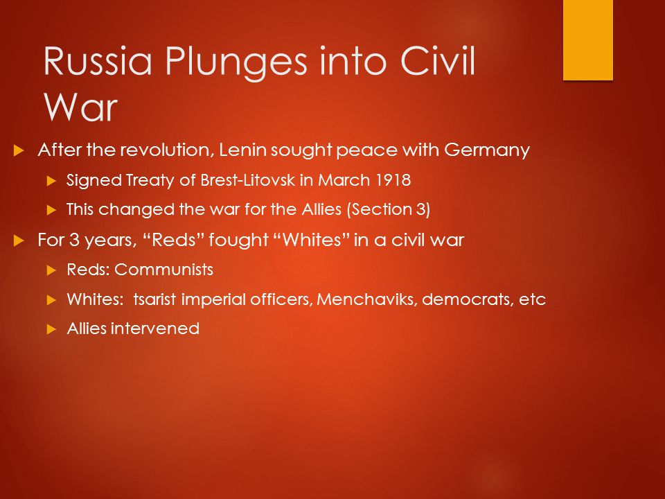 War Under Communism  Cheka – secret police  Forced labor camps  Took over banks, mines, factories, railroads  Red Army used commisars  By 1921, the Communists managed to defeat their foes