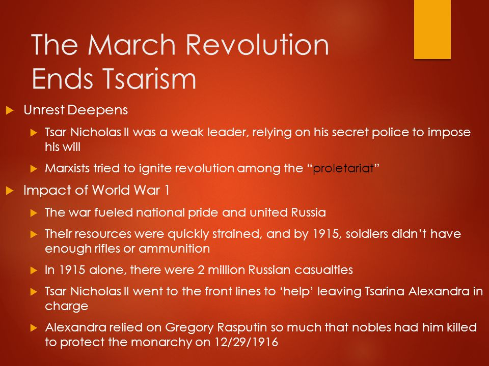 The March Revolution Ends Tsarism cont.
