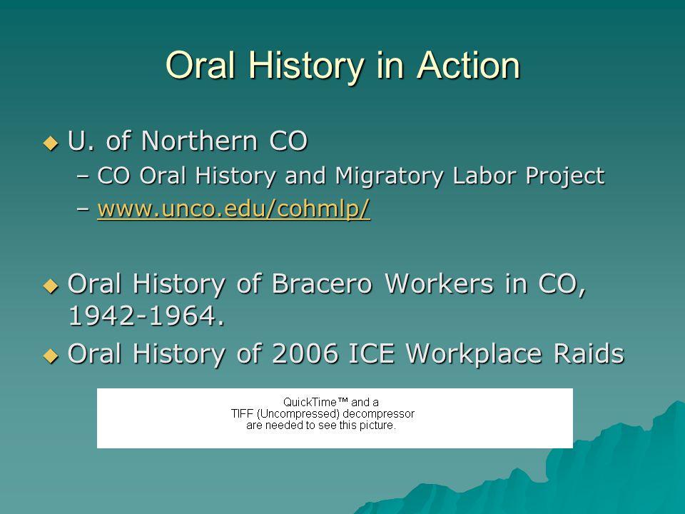 Oral History in Action  U.