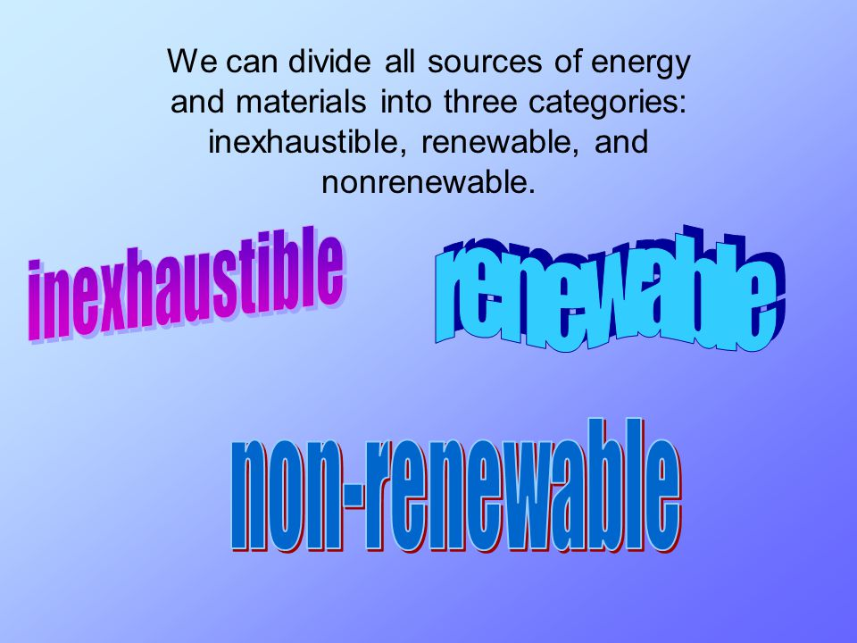 We can divide all sources of energy and materials into three categories: inexhaustible, renewable, and nonrenewable.