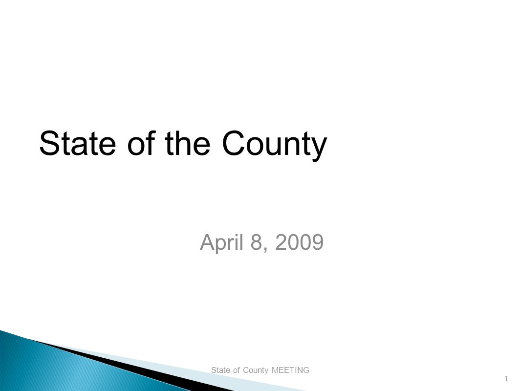 State of the County April 8, 2009 State of County MEETING 1