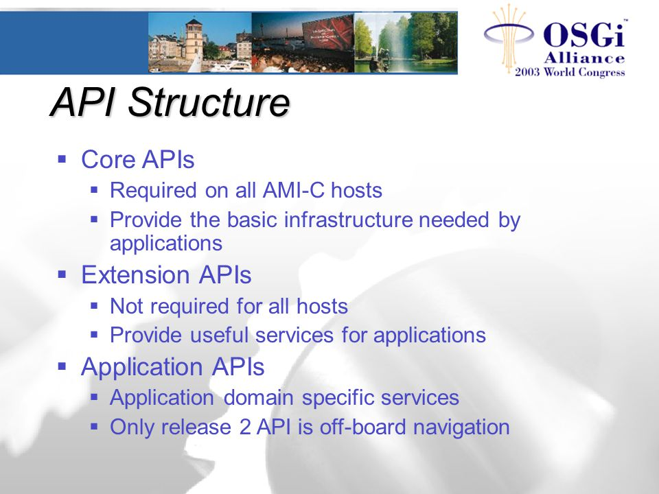 API Structure  Core APIs  Required on all AMI-C hosts  Provide the basic infrastructure needed by applications  Extension APIs  Not required for