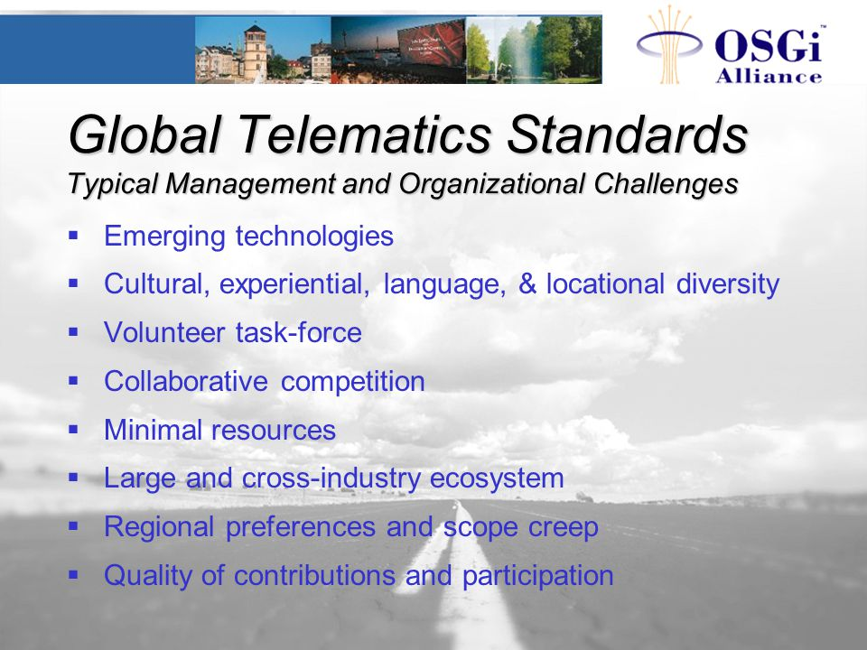 Global Telematics Standards Typical Management and Organizational Challenges  Emerging technologies  Cultural, experiential, language, & locational
