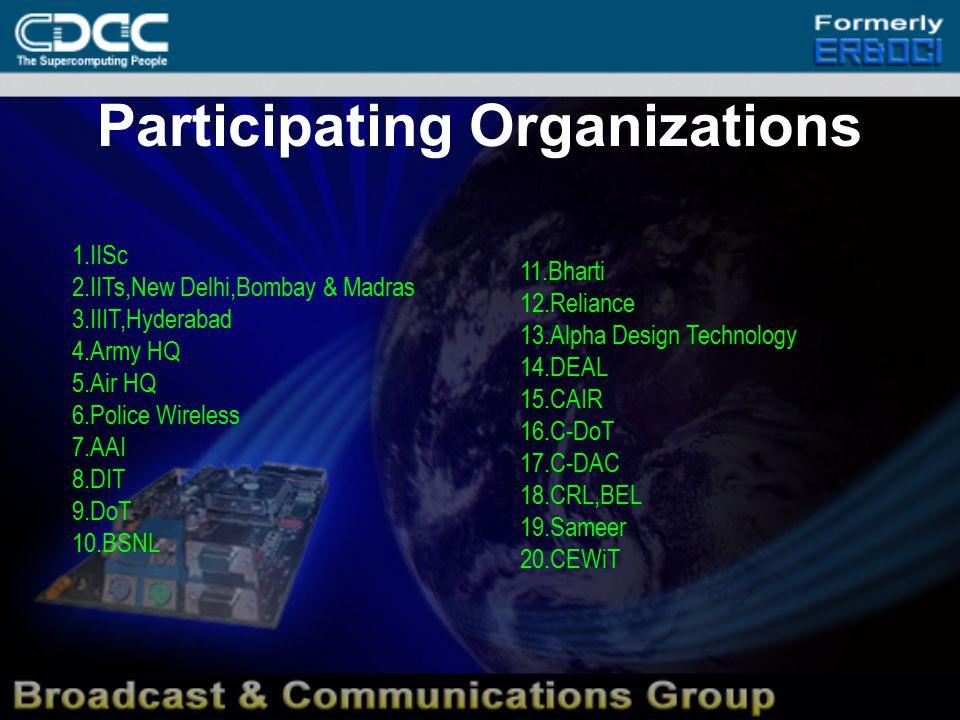 Participating Organizations 1.IISc 2.IITs,New Delhi,Bombay & Madras 3.IIIT,Hyderabad 4.Army HQ 5.Air HQ 6.Police Wireless 7.AAI 8.DIT 9.DoT 10.BSNL 11.Bharti 12.Reliance 13.Alpha Design Technology 14.DEAL 15.CAIR 16.C-DoT 17.C-DAC 18.CRL,BEL 19.Sameer 20.CEWiT
