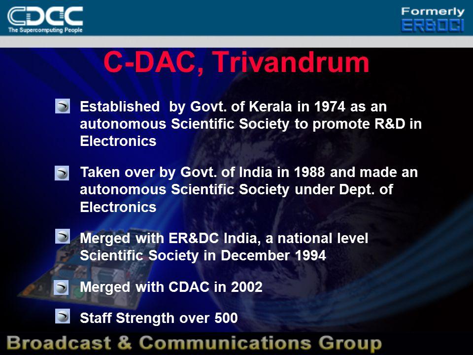 C-DAC, Trivandrum  Established by Govt.