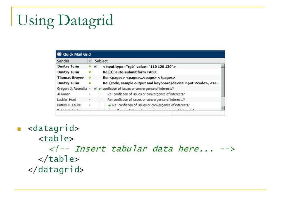 Using Datagrid