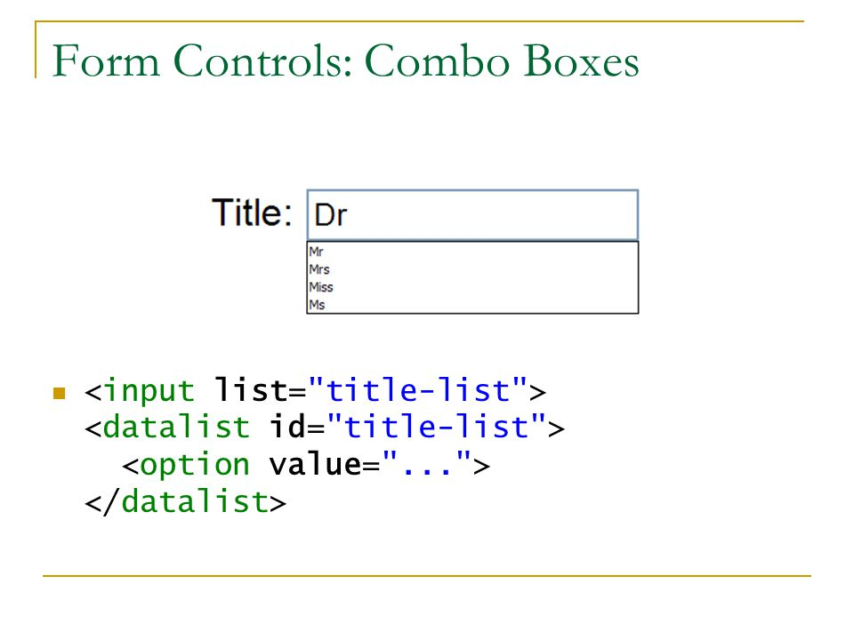 Form Controls: Combo Boxes