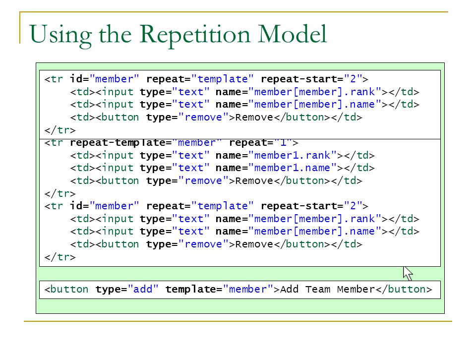 Using the Repetition Model Add Team Member Team Members NameRank Jack O NeillRemoveColonel RemoveSam CarterMajor RemoveDaniel JacksonCivilian Remove ContinueRemove Teal'cAlien Remove Remove Remove Remove Add Team Member