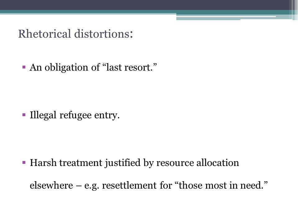 Rhetorical distortions :  An obligation of last resort.  Illegal refugee entry.