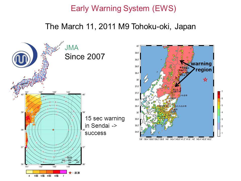 Early Warning System (EWS) JMA Since 2007 15 sec warning in Sendai -> success warning region The March 11, 2011 M9 Tohoku-oki, Japan