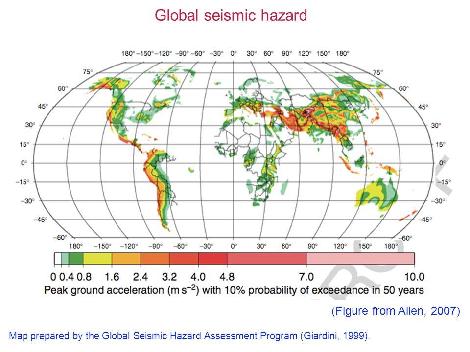 Global seismic hazard Map prepared by the Global Seismic Hazard Assessment Program (Giardini, 1999).