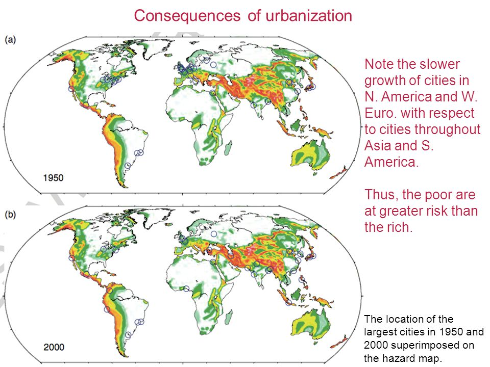 Consequences of urbanization The location of the largest cities in 1950 and 2000 superimposed on the hazard map.