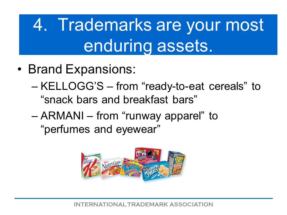 INTERNATIONAL TRADEMARK ASSOCIATION 4. Trademarks are your most enduring assets.