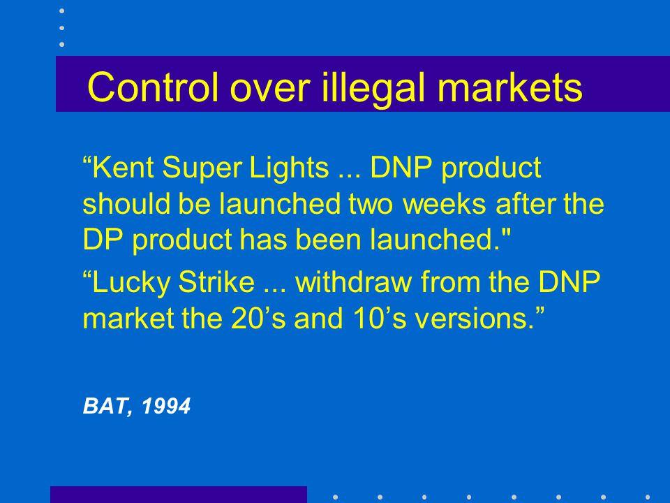 Control over illegal markets Kent Super Lights...