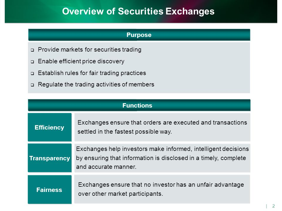 Exchanges ensure that orders are executed and transactions settled in the fastest possible way. Efficiency Exchanges help investors make informed, int