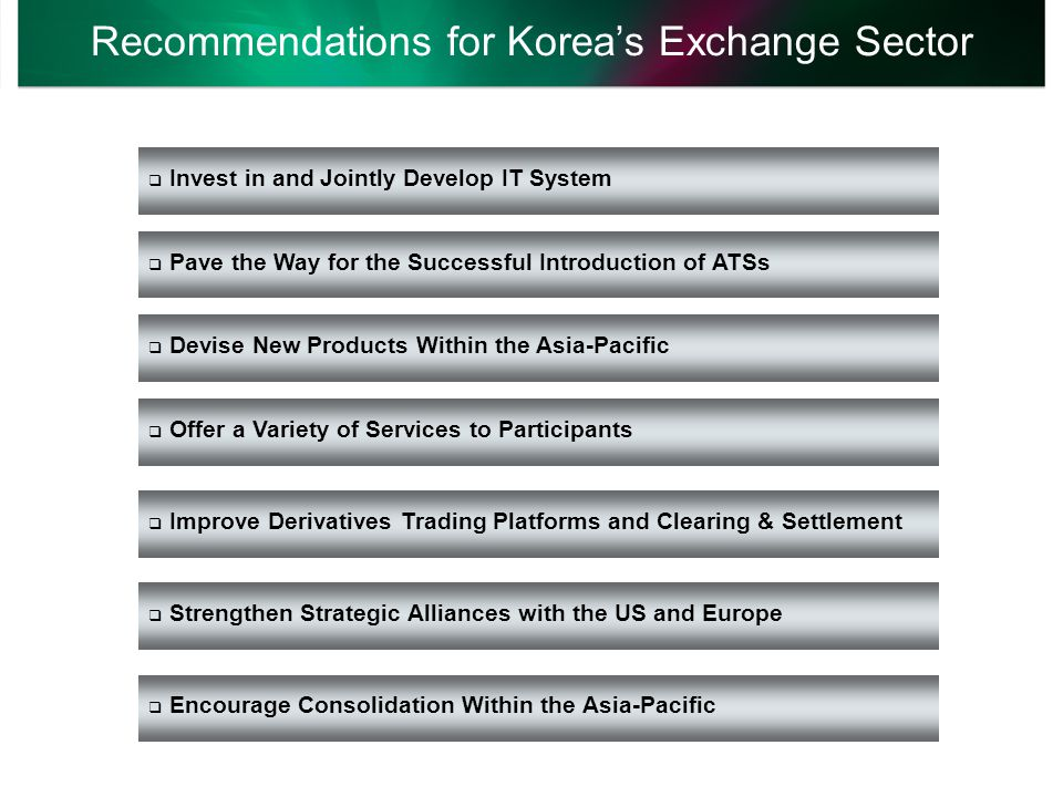 Recommendations for Korea's Exchange Sector  Invest in and Jointly Develop IT System  Pave the Way for the Successful Introduction of ATSs  Devise