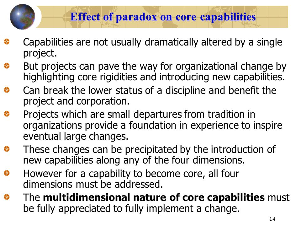 14 Effect of paradox on core capabilities Capabilities are not usually dramatically altered by a single project. But projects can pave the way for org