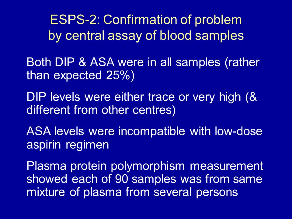 ESPS-2: Confirmation of problem by central assay of blood samples Both DIP & ASA were in all samples (rather than expected 25%) DIP levels were either trace or very high (& different from other centres) ASA levels were incompatible with low-dose aspirin regimen Plasma protein polymorphism measurement showed each of 90 samples was from same mixture of plasma from several persons