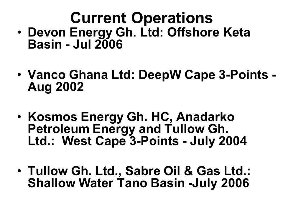 Current Operations Devon Energy Gh.