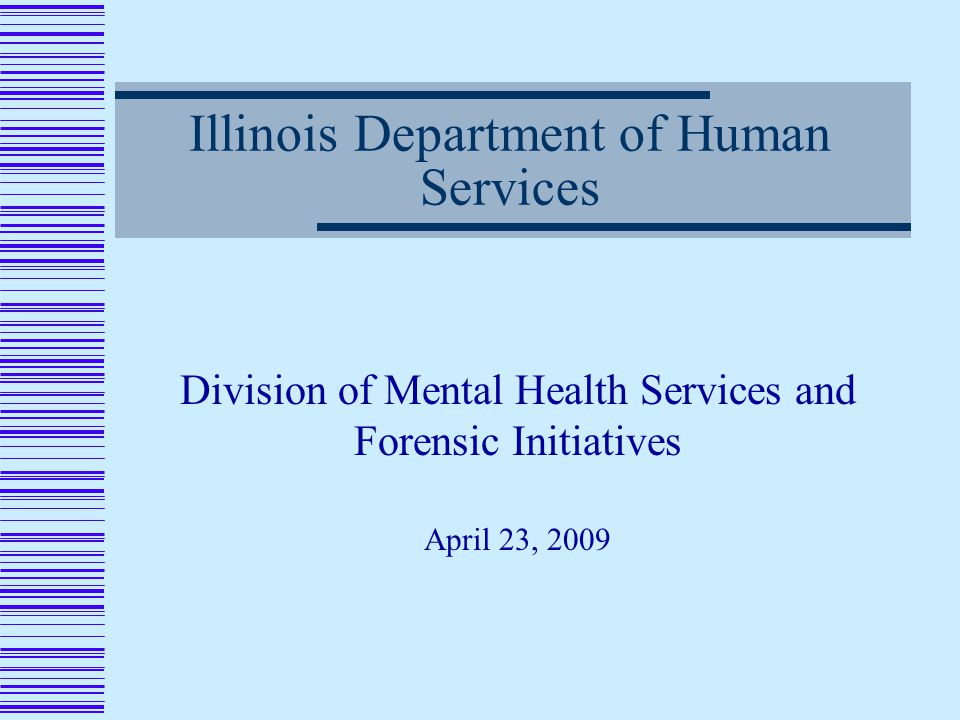 Illinois Department of Human Services Division of Mental Health Services and Forensic Initiatives April 23, 2009